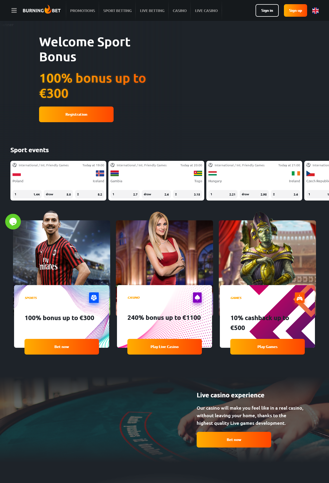 Burning Bet is an online casino and sports betting site
